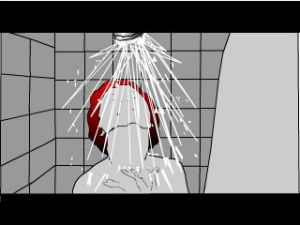 Psycho Shower Scene (frame 91 shower front view)